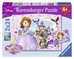 It?s Sofia The First! This set includes two 24-piece puzzles. Assemble to see Sofia and her friends.