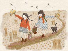 cat, girl, and illustration resmi Children's Book Illustration, Watercolor Illustration, Watercolor Art, Et Wallpaper, Korean Artist, Whimsical Art, Drawing For Kids, Cat Art, Cute Drawings