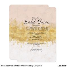 Blush Pink Gold White Watercolor Card