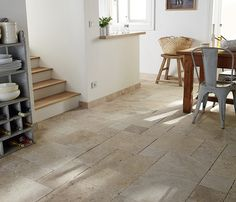 Inspiration Castorama Decorations Natural stone flooring by Murs Beiges, Sofa Living, Natural Stone Flooring, Inside Home, Basement Stairs, Travertine, Natural Stones, Interior Architecture, Tile Floor