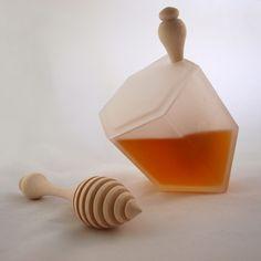 world's most elegant #honey pot. sculptural glass Hive Honey Jar, a modern rendition of the honeycomb cell