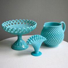 Hobnail Turquoise Blue Milk Glass Mini Fan Vase by Fenton
