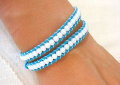 Beaded Wrap Bracelet With Turquoise Leather White Beads and Shell Button Clasp