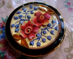"""vintage powder compact by damselfly58- vintage powder compact    made by """"melissa"""".  via Flickr"""