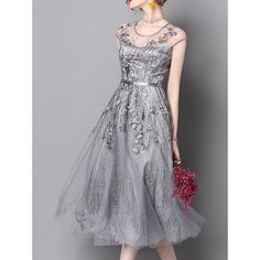 7f710ec700602 Gray Embroidered Floral A-Line Date Elegant Midi Dress かわいいドレス