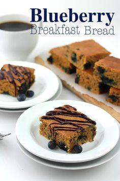 Blueberry Breakfast Bread, comes together so quickly, no oil, no eggs, no dairy, but super moist!