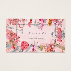 Appointment Card Pink Glitter Makeup Artist Lash Custom Office Retirement #office #retirement
