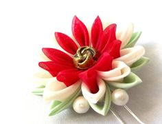 Kanzashi Lotus Hair Flower by ScarlettandMaria on Etsy