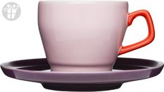 Sagaform POP Stoneware Coffee Cup and Saucer, 8-1/2-Ounce, Pink/Red/Plum (*Amazon Partner-Link)