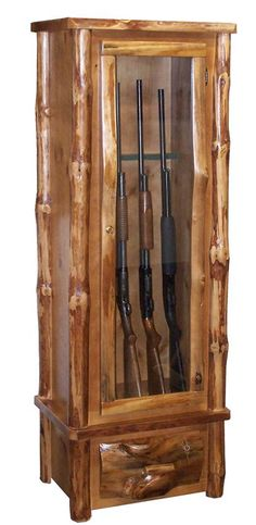 Amish Rustic Pine Log Six Gun Cabinet                                                                                                                                                                                 Más