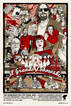The Big Lebowski Poster Illustration by Tyler Stout O Grande Lebowski, El Gran Lebowski, Big Lebowski Poster, The Big Lebowski Movie, Best Movie Posters, Movie Poster Art, Poster Drawing, Jeff Bridges Movies, Joel And Ethan Coen