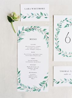 Customizable watercolor garland menu for weddings by Type & Title