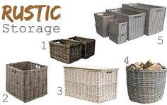 Rustic home storage inspiration from Wovenhill, including wicker, willow, rattan and Kubu baskets, trunks and hampers.
