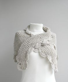 Handknit Beige Triangle Midi Shawl  scarf  collar  by denizgunes