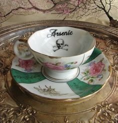 Gothic Tea Cup and Saucer Art Deco Skull and Cross by AustinModern, $38.00