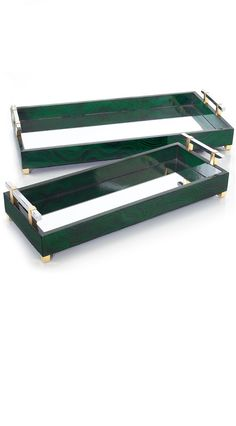 InStyle-Decor.com Designer Mirrored Malachite Dressing table Trays, Luxury…