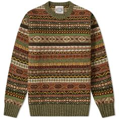 Buy the Jamieson's of Shetland Fair Isle Crew in Artichoke from leading mens fashion retailer END. - only Fast shipping on all latest Jamiesons of Shetland products Retro, Fair Isle Knitting, Sock Knitting, Vintage Knitting, Free Knitting, Mo S, Vintage Sweaters, Sweater Weather, Well Dressed