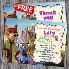 Zootopia Birthday Invitation. Free Thank you by PartyForChild
