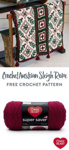 Free Crochet Austrian Sleigh Robe pattern using Red Heart Super Saver yarn. #Yarnspirations #FreeCrochetPattern #ChristmasDecor #SleighRobe #RedHeartYarn #RedSuperSaver