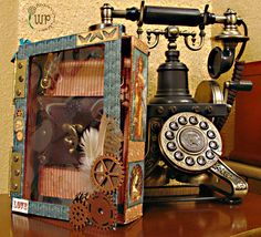 Great altered box using Steampunk Debutante by Dolo Perez! #graphic45 #steampunk