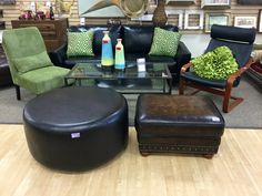 FIND FURNITURE THAT FITS YOU FOR LESS AT NEW USES: Fantastic Brown Studded Ottoman-$60. XL Black Ottoman measuring 3 Feet Round- $37.50.