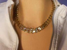 Les Bernard gold chain link choker by maggiescornerstore on Etsy, $89.00