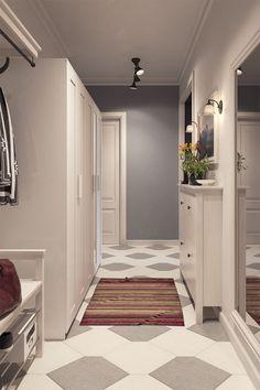 51m2, keskeny alaprajz - egyszobás lakás optimális berendezése IKEA bútorokkal - skandináv lakberendezés semleges színpalettával P2 Living Room Designs, Oversized Mirror, House Design, Modern, Furniture, Lofts, Home Decor, Ideas, Projects