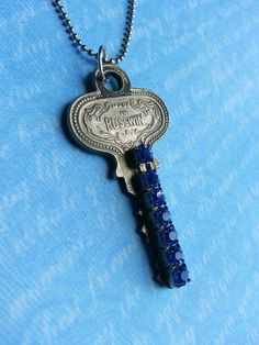 Key Necklace Blue Shimmer 2  Vintage Key with by FreeToBeCreations, $15.99