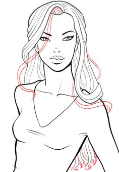 How to draw hair and different hairstyles in fashion sketches. Step by step tutorial on drawing glam retro hollywood hairstyle