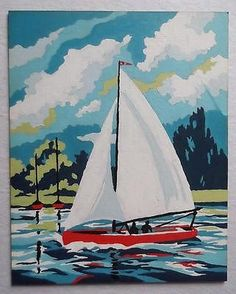 Finished-Vintage-Paint-By-Number-Painting-Sail-Boat-Ship-Ocean-Beach-Nautical
