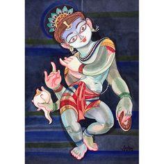 Madhava : Tiruppavai 09 #krishnafortoday #painting Radha Krishna Love, Krishna Radha, Durga, Composition Art, Krishna Painting, Art Corner, Hindu Deities, Krishna Images, Figure Painting