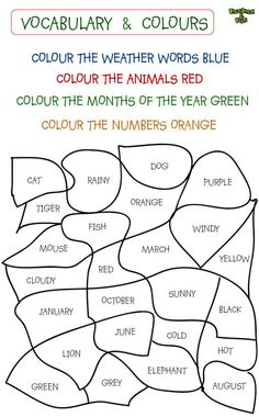 colours in english exercises - crossword - English Activities For Kids, English Worksheets For Kids, English Lessons For Kids, Kids English, English Class, Education English, Teaching English, Learn English, Learn French