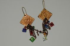 Copper Earrings with Glass Beads