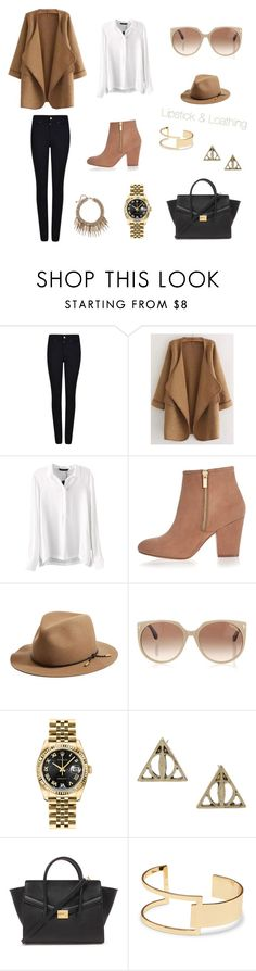"""""""Black & Brown"""" by lipstick-and-loathing on Polyvore featuring Giorgio Armani, WithChic, River Island, rag & bone, Tom Ford, Rolex, Forever 21, Sole Society, women's clothing and women's fashion"""