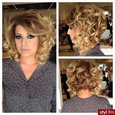 Short, layered hair with medium curl