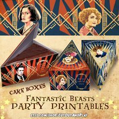 Fantastic beasts Party supplies for birthday and tea party decoration, gift tags, labels, movie night. #etsyshop #fantasticbeasts #harry #potter #newt #scamander #tina #goldstein #queenie #jacob #kowalski #niffler #treatbox #labels #gifttags #giftpack