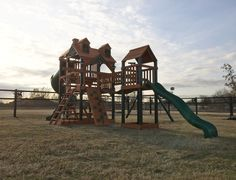 This Gorilla Treasure Trove Come with a a bridge, spiral slide, rock wall, picnic table and a climbing ladder. Installation time: 8 hours!  Need an installation quote or repairs done to your old Swingset? Give us a call 281-345-1997