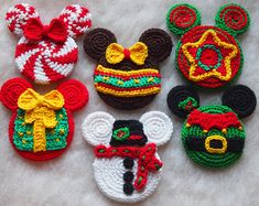 Mickey Mouse Minnie Mouse crochet pattern, Christmas Elf, Christmas Tree Toy, Snowman, Christmas Present, Candy, Christmas Star