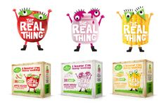The Real Thing Marx Design Kids Packaging, Food Packaging Design, Beverage Packaging, Box Packaging, Logo Design, Branding Design, Graphic Design, Game Logo, Mixed Berries