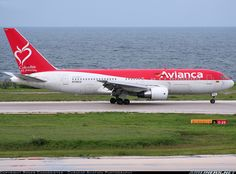 """Avianca's """"Colombia es pasion"""" 767 finally pays a visit to Curacao. Canon Rebel XT III USM Ultrasonic] - Photo taken at Willemstad / Curacao - Hato (CUR / TNCC) in Curacao on October Boeing Aircraft, Bus, Aircraft Pictures, Spacecraft, Military Aircraft, Airplanes, Aviation, Commercial, Memories"""