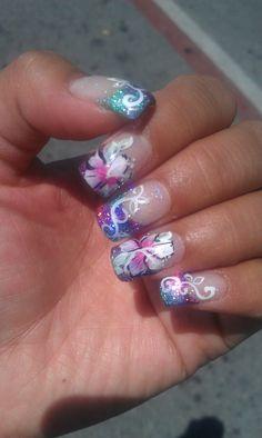 Hawaiian themed nails for my 27th birthday luau.