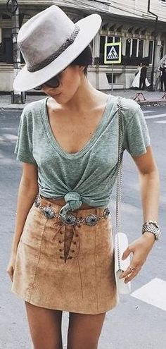 #summer #outfits / Olive Green Washed T Shirt + Suede Skirt