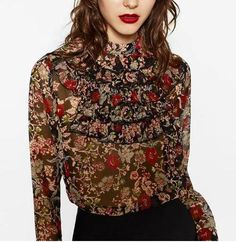 Cheap blouse style, Buy Quality blouse silk directly from China blouse denim Suppliers: 2017 Spring Multicoloured floral PRINTED BLOUSE WITH Layered FRILLS bib front Round high collar Fashion Shirt Tops Long Sleeved