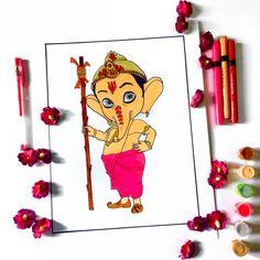 Ganpati Drawing, Ronald Mcdonald, Drawings, Fictional Characters, Art, Art Background, Kunst, Sketches, Performing Arts