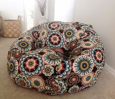 Boho Bean Bag Beanbag Moroccan Bohemian Jewel Teenagers, Adults, Girls. Hand made Moroccan design print.