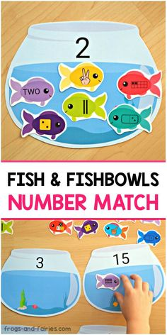 Fish & FIshbowls Number Match This adorable Fish and Fishbowls Number Match printable activity is a great way for pre-k, kindergarten or first grade kids to practice counting and number sense! Fish Activities, Counting Activities, Preschool Learning Activities, Preschool Activities, Kids Learning, Preschool Education, Number Games Kindergarten, Number Sense Activities, Numbers Preschool