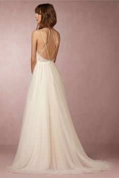 Love the pretty, delicate back of this wedding gown. BHLDN Rosalind Wedding Gown.