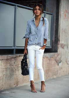 55 Spring Outfits to Copy ASAP | classic striped button-down shirt styled with ripped white skinny jeans and ankle strap heels
