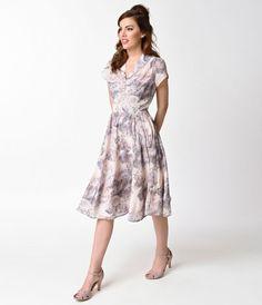 Hell Bunny Vintage Style Purple Chiffon Swing Dress