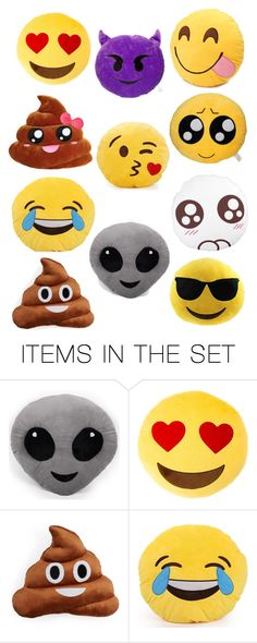 """emoji pillows!"" by nerdtastical ❤ liked on Polyvore featuring art"